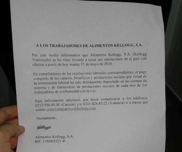 Kelloggs cierra forzosamente en Venezuela