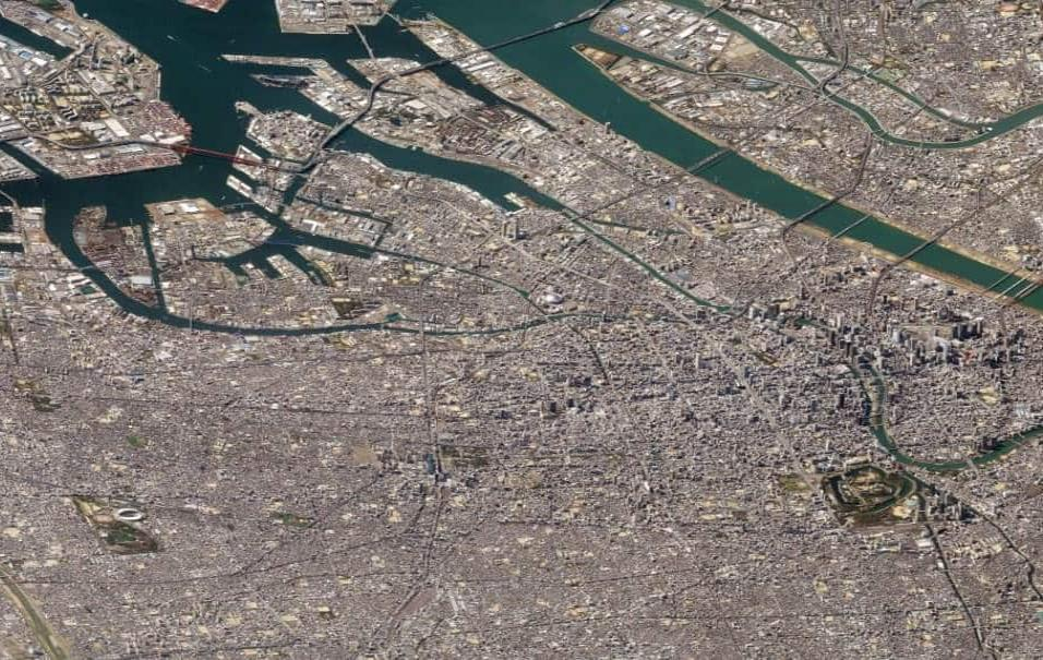 Osaka (Japón)En esta imagen de Osaka, la segunda ciudad más grande de Japón, se mezclan los rascacielos con los castillos. También hay una gran cantidad de instalaciones industriales y de puertos. Foto tomada el 13 de marzo de 2018.