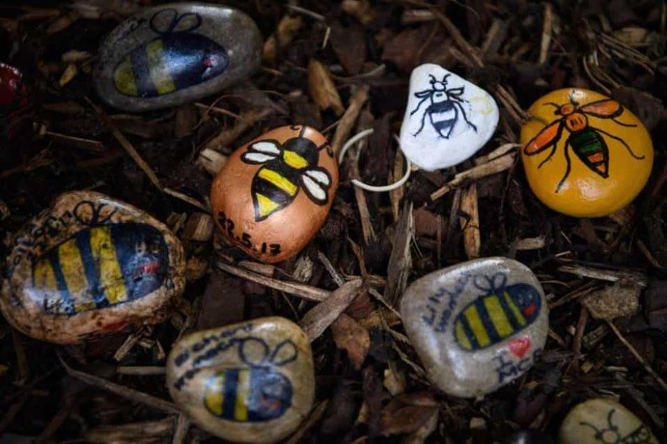 Piedras decoradas con el icono de una abeja decoran partes de la ciudad de Manchester en recuerdo a las víctimas. LEON NEAL GETTY IMAGES