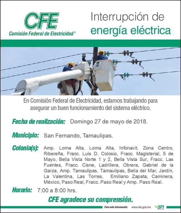 Suspende CFE energía para dar mantenimiento