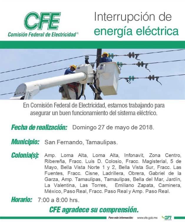 Anuncian corte de energía para este próximo domingo