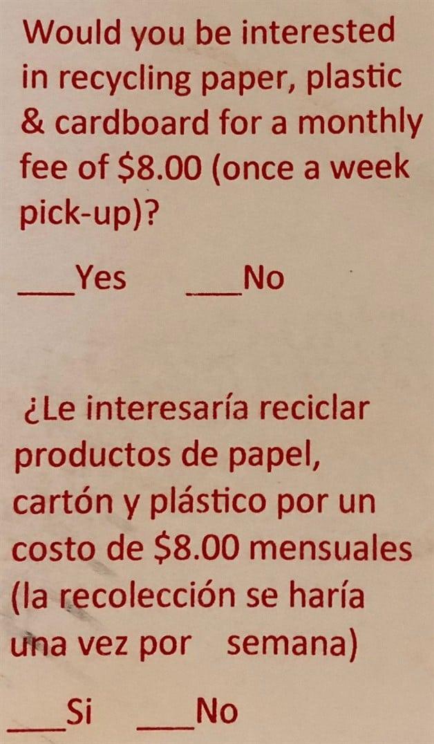 Hacen sondeo sobre el reciclaje opcional