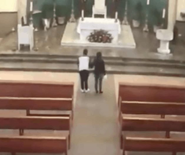 Captan a pareja robando limosna de iglesia